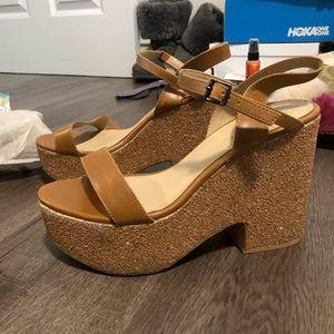 Zara tan glitter platform sandals